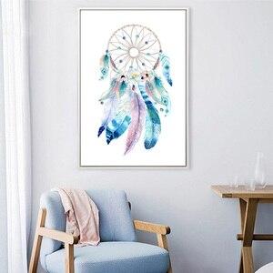 3 цвета скандинавский простой постер Ловец снов с перьями HD Печать на холсте для гостиной Настенная картина для домашнего декора живопись