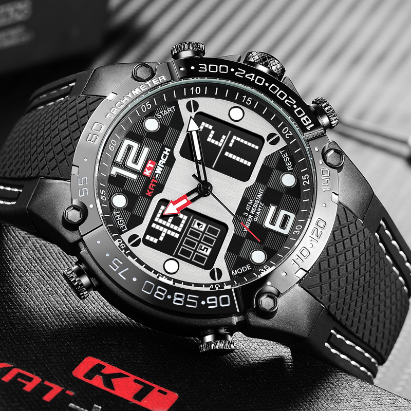 465de5ed7 [HOT DEAL] US $35.55 for KAT-WACH Fashion Men's Sport Watch Quartz Analog  Date Clock Military Waterproof Watches Digital Alloy Silicone Watch Man