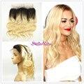Stella Reina 360 Fechamento Frontal Cheia Do Laço #613 Onda Do Corpo Loiro Platina Praia Ajustável Banda 100% cabelo Humano Remy Malaio cabelo