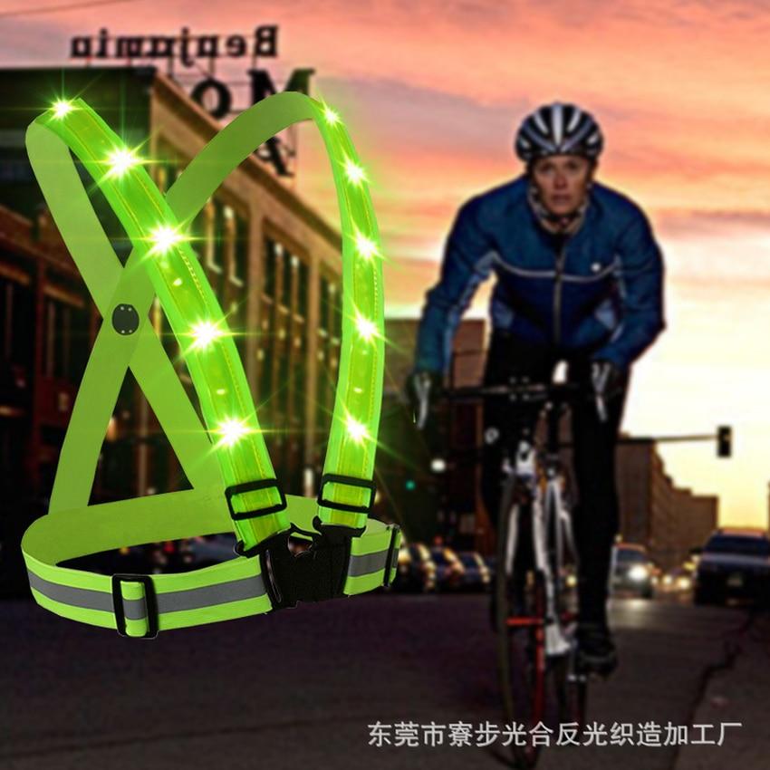 1pcs USB Recharge Elastic Straps Reflective Vest Cycling Jerseys Running LED Safety Warning Clothing 2019