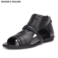 Maggie's Walker Women Genuine Leather Sandals Summer Open toe Flat Sandals Rome Style Genuine Leather Shoes Size 35~39