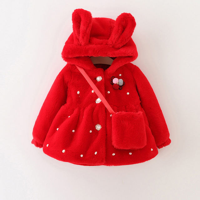 2016 new spring and autumn day girl coat wool winter thickening velvet children coat plus bag 1-3 years free shipping