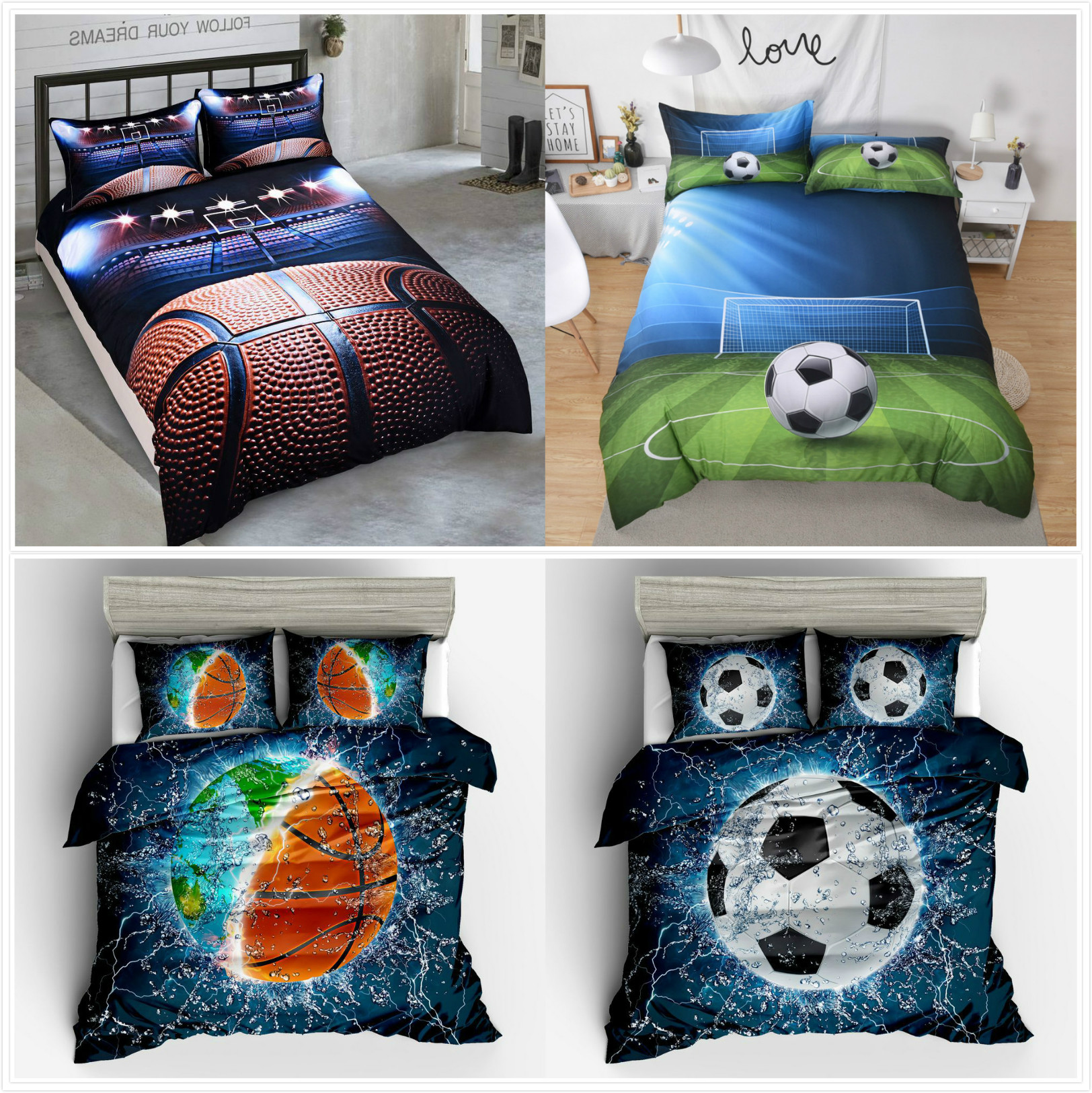 Home Textile Duvet Cover Cool basketball football cartoon 2/3pcs British Style Family student dormitory Quilt cover pillowcaseHome Textile Duvet Cover Cool basketball football cartoon 2/3pcs British Style Family student dormitory Quilt cover pillowcase
