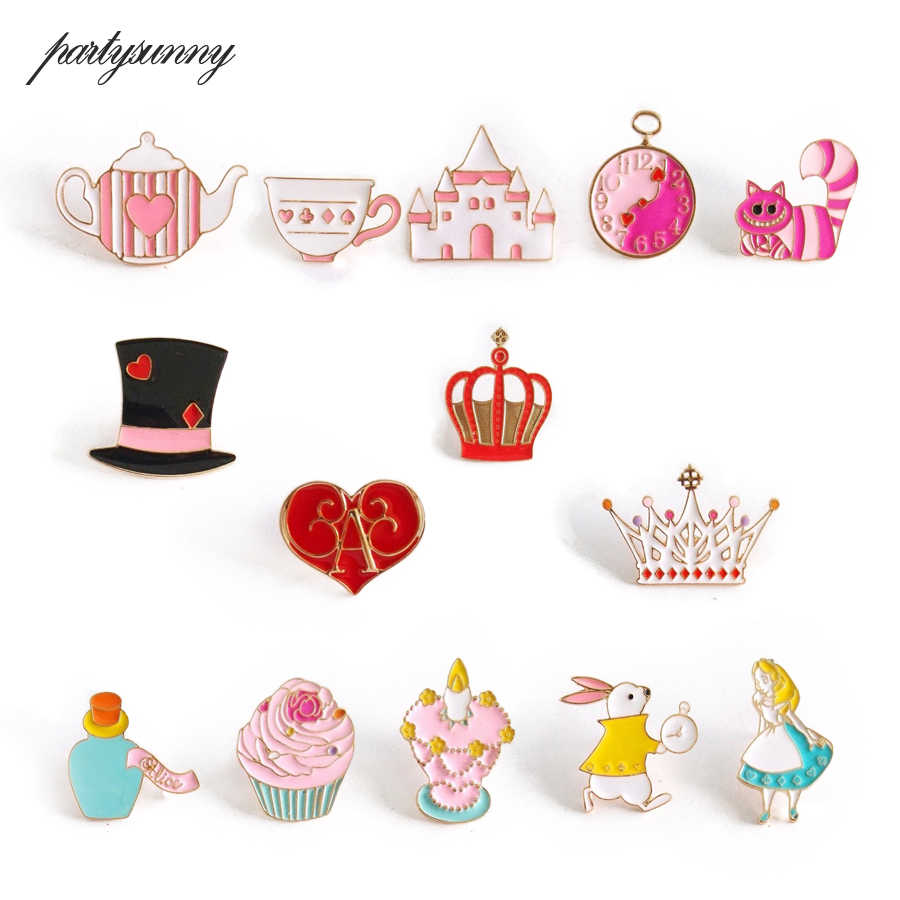 PY Alice in Wonderland Enamel Pin Brooch Castle Cat Crown Princess Heart Metal Button Badges on Backpack Anime Icons for Clothes