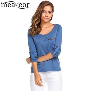f23193865532b Meaneor Women Casual Long Sleeve T-shirt Autumn Tshirt