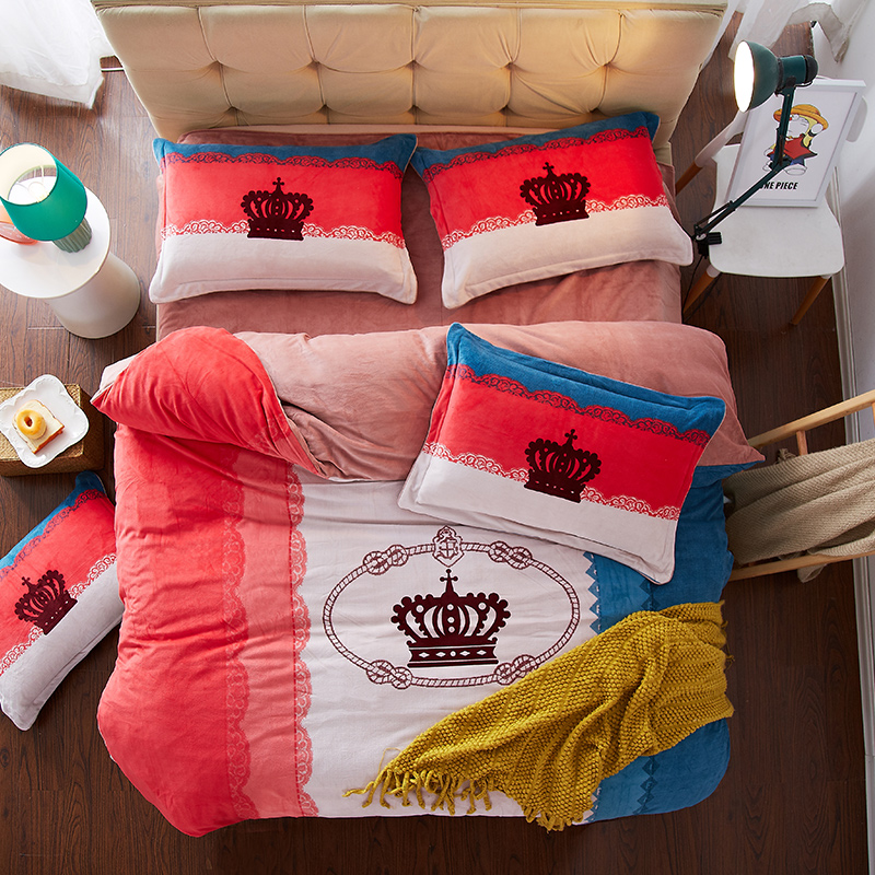 New winter style thick fleece warm Bed sheet set Floral Boho Girls Queen King size Bedding sets 4Pcs Duvet cover set Pillowcase