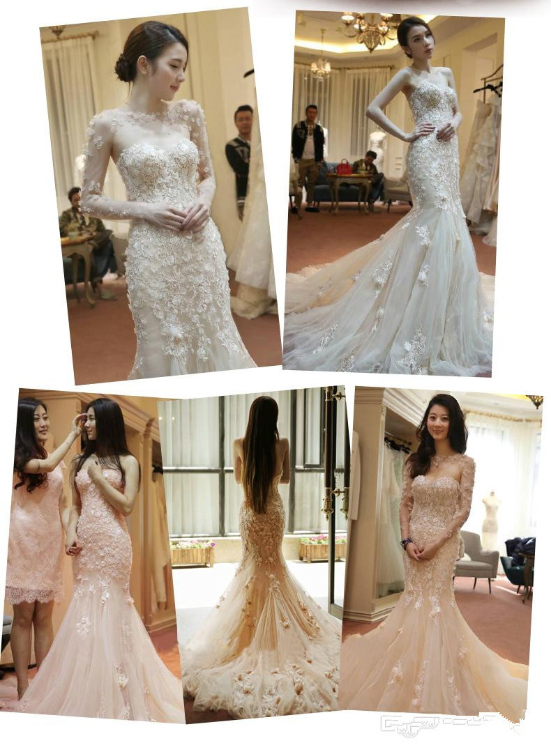 be139e8435f White  Blush Pink Wedding Dress Mermaid Sweetheart Lace Appliques Tulle  Bridal Dress Long Sleeve Dress Wedding Free Shipping-in Wedding Dresses  from ...