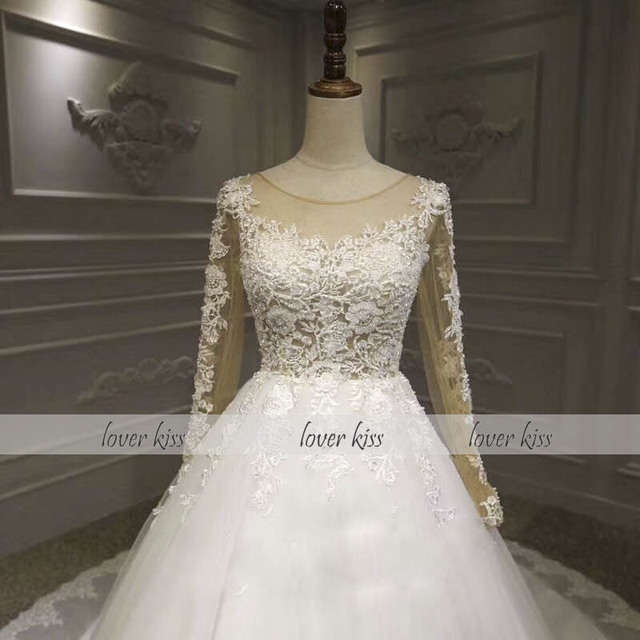 Sevgilisi öpücük Vestido De Noiva 2020 gerçek düğün elbise uzun kollu dantel boncuklu İnciler Sequins Backless gelin kıyafeti Robe de Mariage
