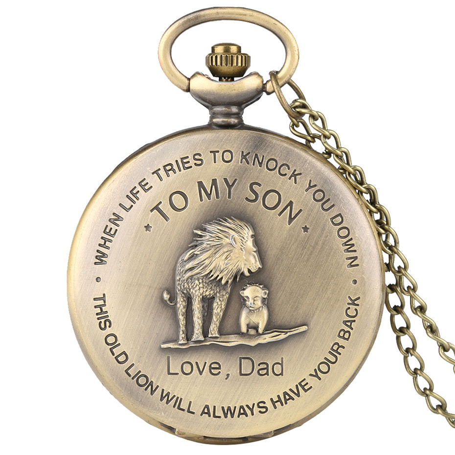 The Lions 'TO MY SON' Pocket Watch Men Watches Necklace Gifts From DAD Bronze Color Fob Clock Birthday Gift For Boys Male