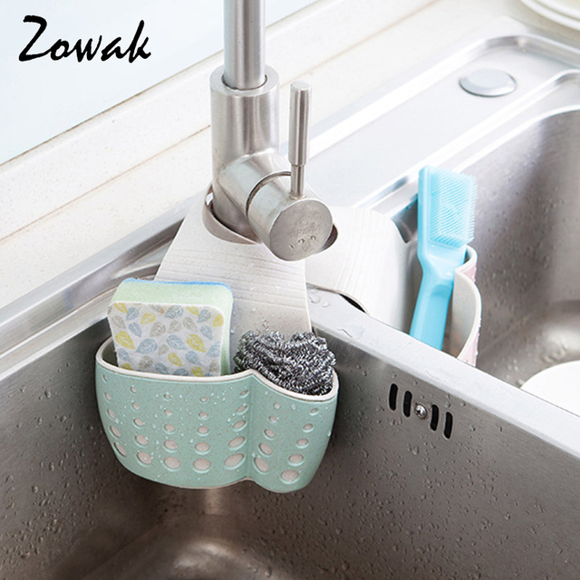 Hanging Sponge Holder Kitchen Sink Caddy Soap Draining Sider Faucet Saddle Organizer Brush Storage