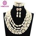 Encantos 5 Capas Blanco Genuino Perlas de Coral Nigerianos Sistema de La Joyería de Compromiso de Las Mujeres Coral Conjunto De Collar Al Por Mayor CNR766