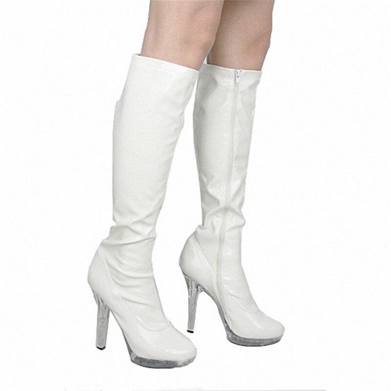 Zapatos Tacón Blanco Mujeres Invierno Caballero Sexy Otoño Bottom Muslo Stiletto Sobre Moda Botas Rodilla Pulgadas 4 La Boots13cm Cristal De aqUwOx