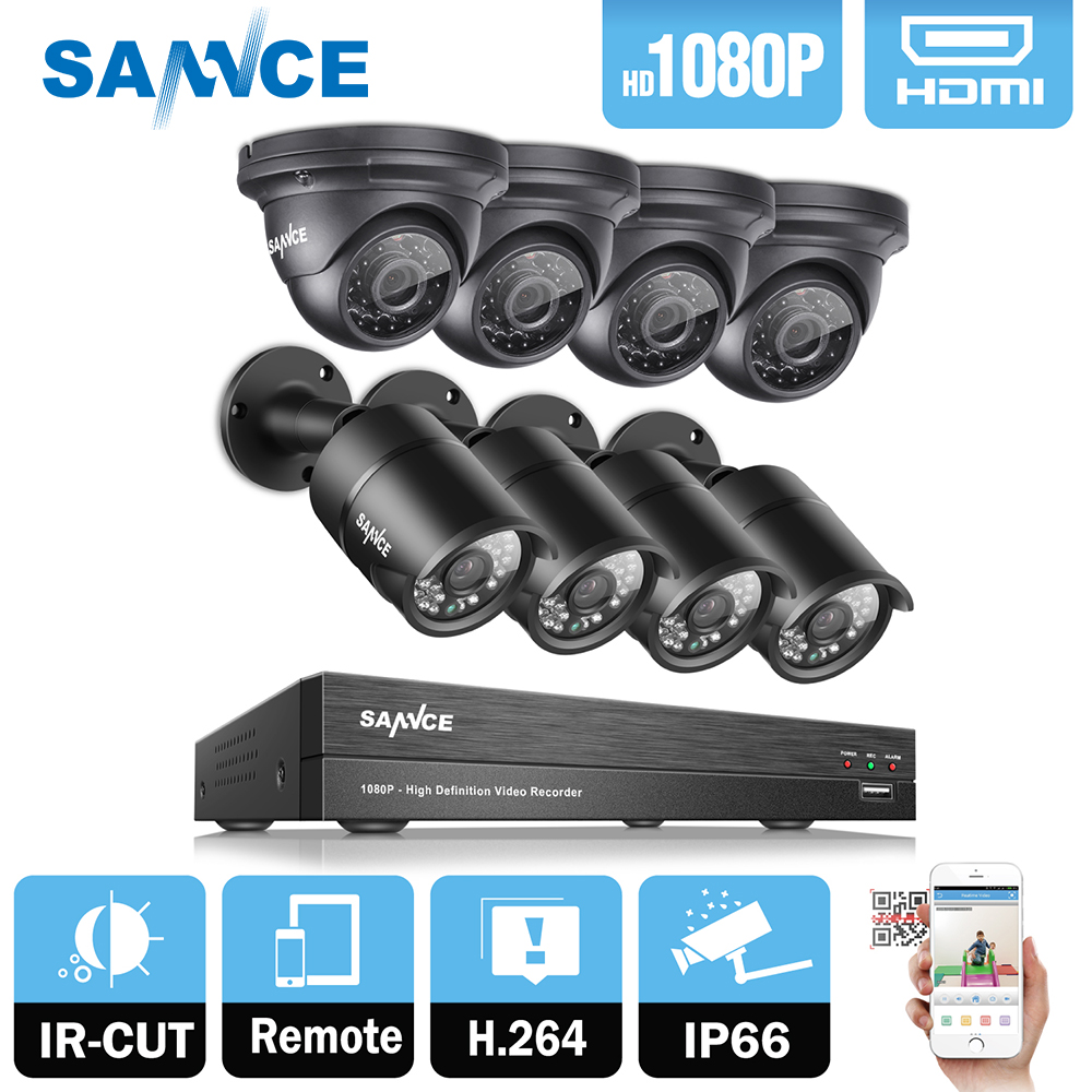SANNCE HD 1080P CCTV Security System 8pcs 3000TVL IR outdoor 2.0MP Security Cameras 1080P DVR CCTV Surveillance Kit цена