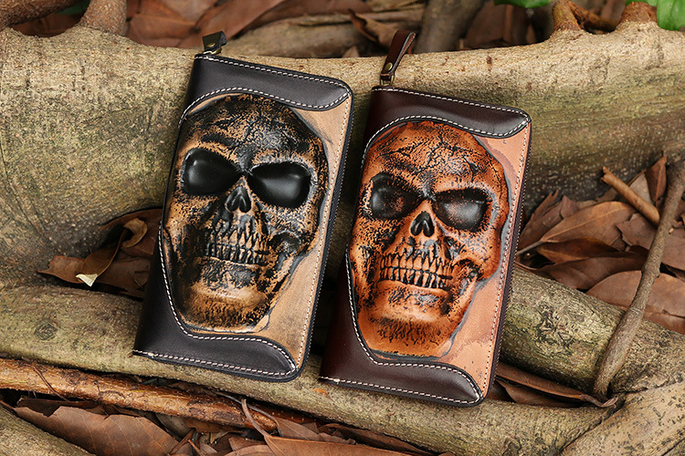 Free Shipping,new punk type tanning cowhide skeleton skull wallet,men's zipper purse,multi-functional handbag.business cool gift eurosvet люстра eurosvet bogate s 605 6