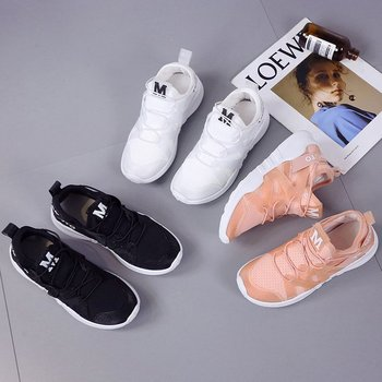 2018 spring and autumn new Korean women's white breathable increase in the wild powder casual travel  couple