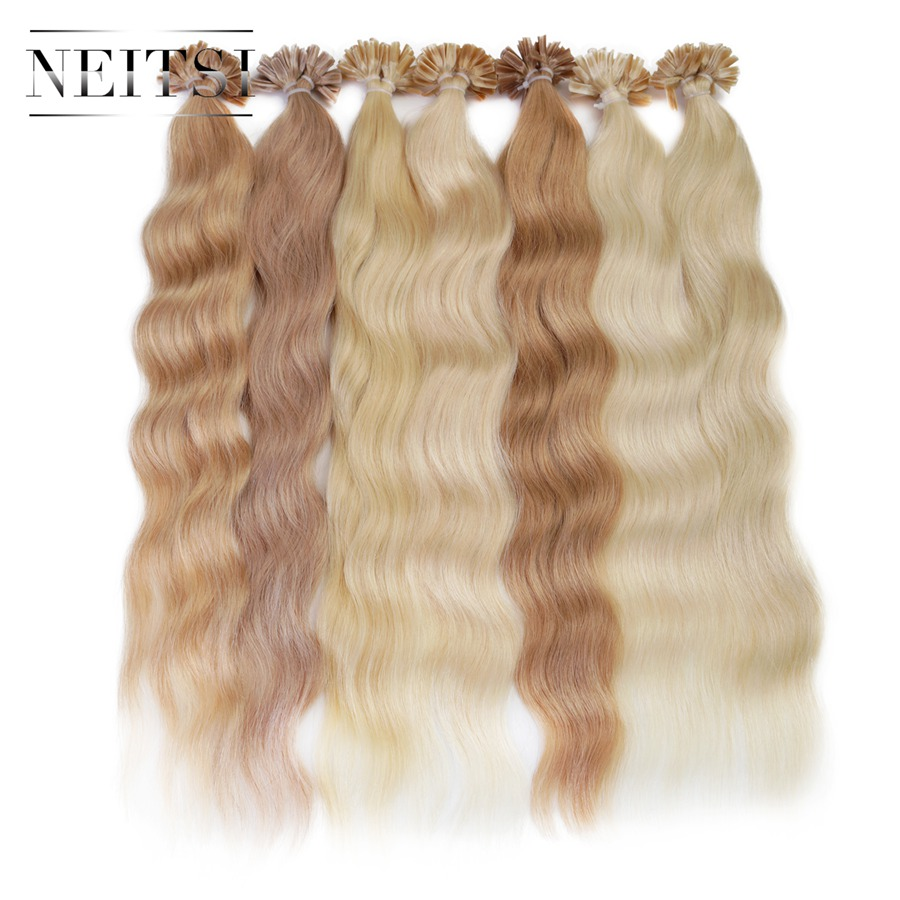 Neitsi Machine Made Remy Human Fusion Hair U Nail Tip Natural Wave Pred Bond Keratin Human Hair Extension 20