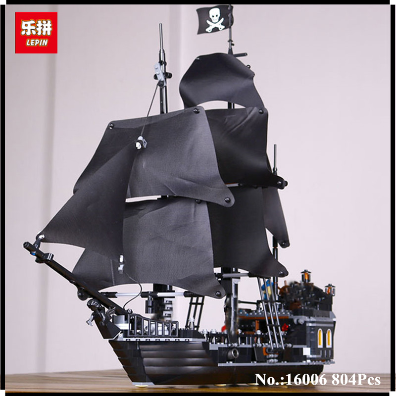 IN STOCK LEPIN 16006  804Pcs Pirates Of The Caribbean The Black Pearl Ship Model Building Kit Blocks BricksToy Compatible 4184 waz compatible legoe pirates of the caribbean 4184 lepin 16006 804pcs the black pearl building blocks bricks toys for children