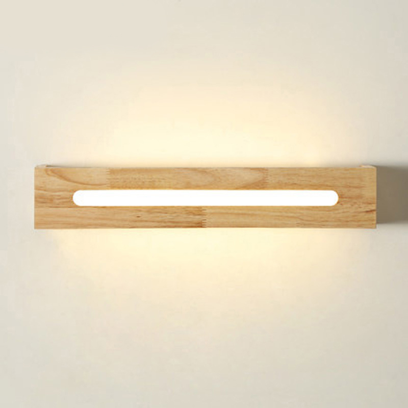 SinFull Simple Nordic style Aisle Entrance Wood Wall Lights Bedside Mirror Lamp LED Raw Wood Wall Sconce 6W AC100-220V light