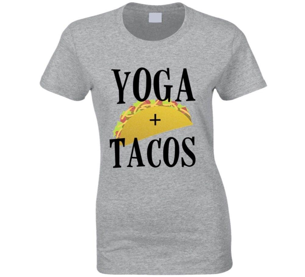 Yoga + Tacos Funny Ladies Taco Yoga Graphic T-shirt  Cool Casual pride t shirt men Unisex New Fashion tshirt free shipping