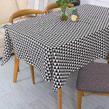 Modern Tablecloths Nordic Style Geometric Rectangular Table Cloth Black Gray Simple Triangle Printed Cover For Banquet 1pc