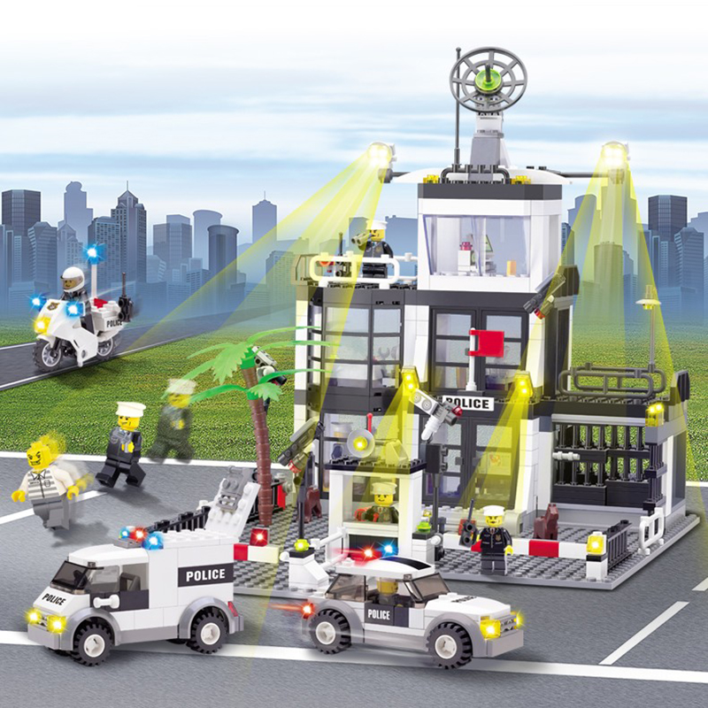 631Pcs City Police Station 6725 Set Legoinglys Model Building Blocks with Figures Children Toys & Hobbies Building Bricks Gift hot city series the new police station set children educational lepins building blocks bricks figures boy funny toys model gift