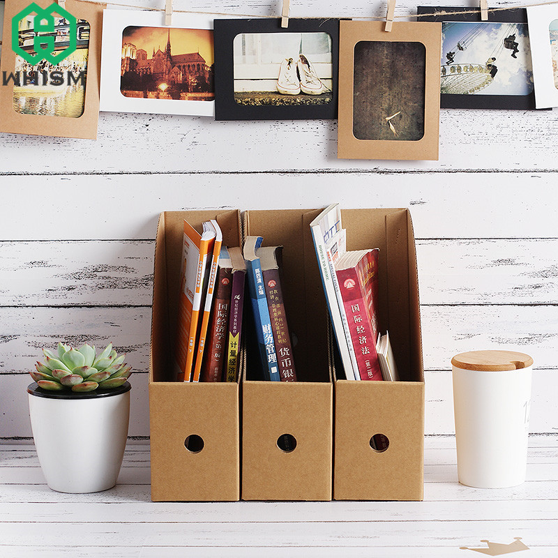 WHISM DIY Kraft Paper Bookshelf Office Documents Holder Desktop Stationery Books Container Cosmetic Organizer Files Storage Box