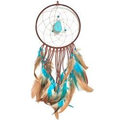2 шт. ручной Ловца снов с перьями стене висит украшение орнамент (45 см, синий + коричневый)