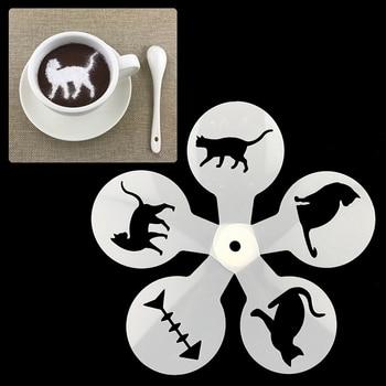 2019 New Coffee Stencils Coffee Drawing Cappuccino Mold Fancy Coffee Printing Model Foam Spray Cake Stencils Coffeeware