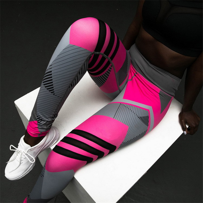 Plus Size Fitness Clothing Women Elastic Sporting Leggings Gradient Color Stripe Print Workout Legging Push Up Leggins DropShip