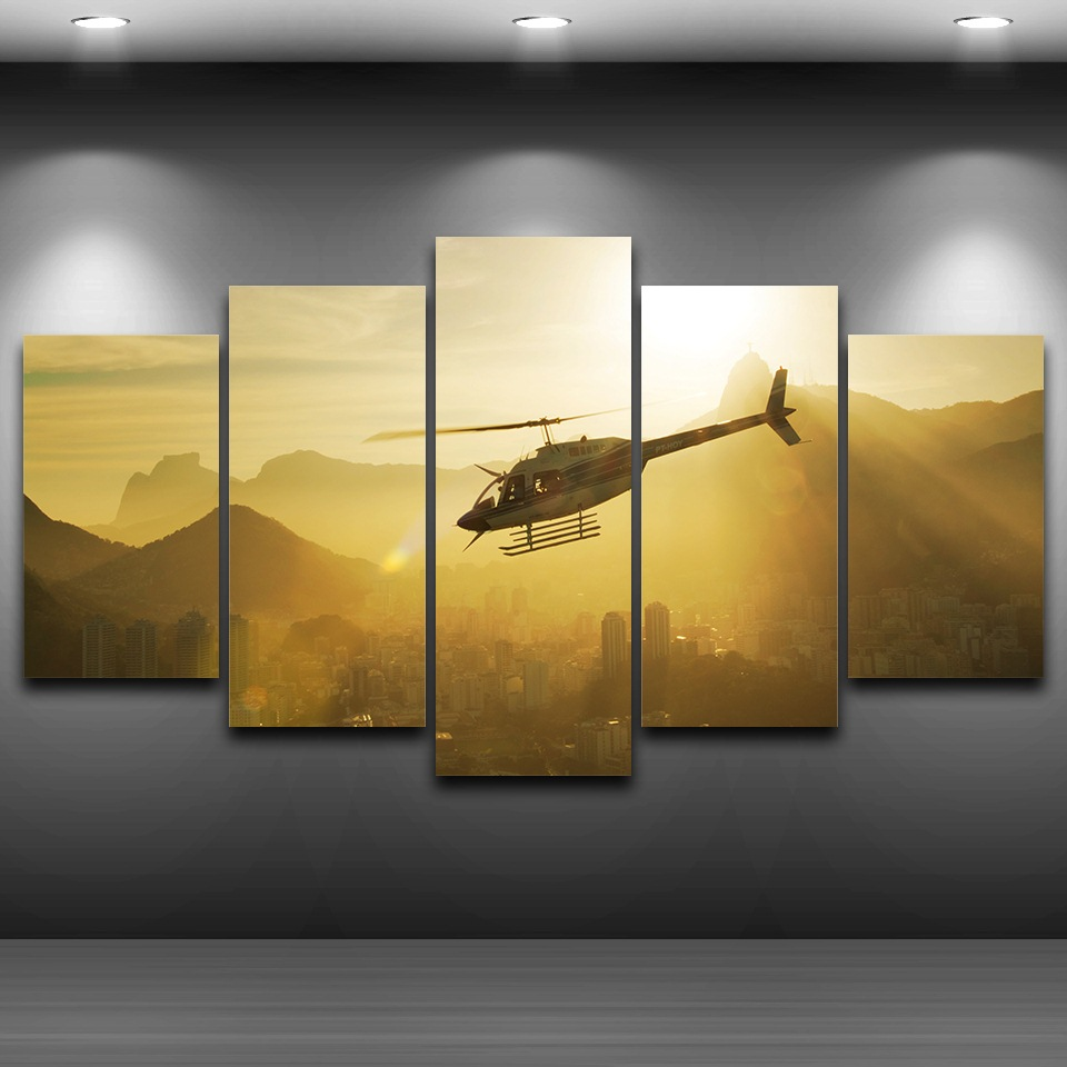 Canvas Art Print Artwork Modular Painting 5 Panel Helicopter Poster ...