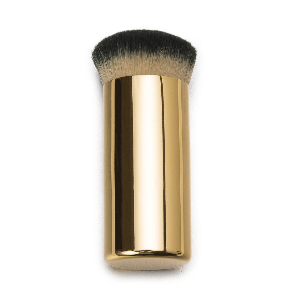 Short Metal Handle Gold Makeup Brush Foundation Brush Portable Dome Shape Kabuki Powder Brushes soft fiber toothbrush shape liquid foundation brush