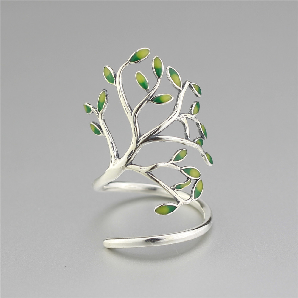 925 Sterling Silver Drop Glaze Leaves Open Rings Za - Modni nakit - Foto 3