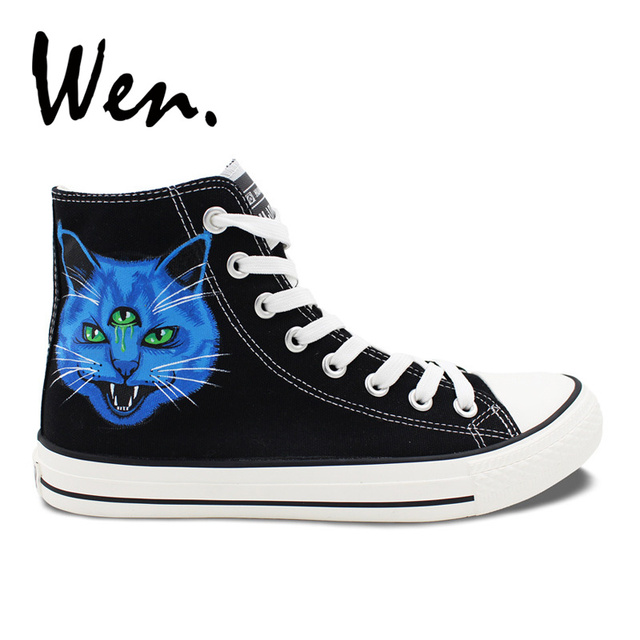 Wen Men Women's Design Custom Three-Eyes Cat Heads Blue Purple Hand Painted Canvas  Shoes