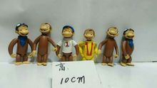 6pcs/set Simulation animal model toy scene Decoration naughty monkey george pvc figure