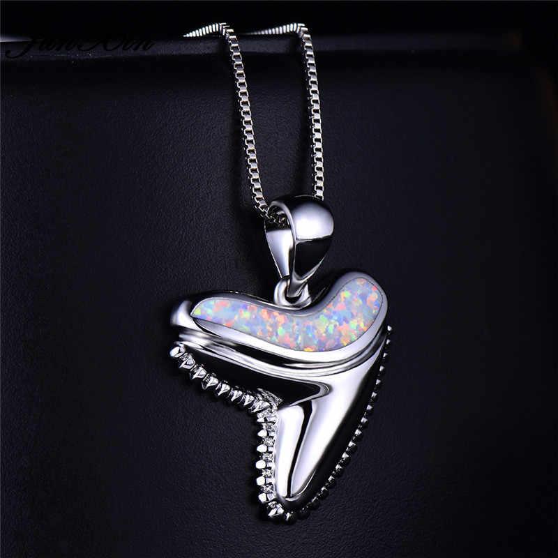 Boho femelle queue de poisson pendentifs colliers bleu blanc opale de feu collier ras du cou mode 925 bijoux de mariage en argent Sterling