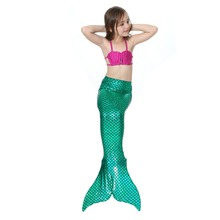 2-12Y Little Girls 3Pcs Mermaid Bikini Set Split Swimmable Princess Mermaid Tail Bathing Suit Swimwear Children Swimwear Costume