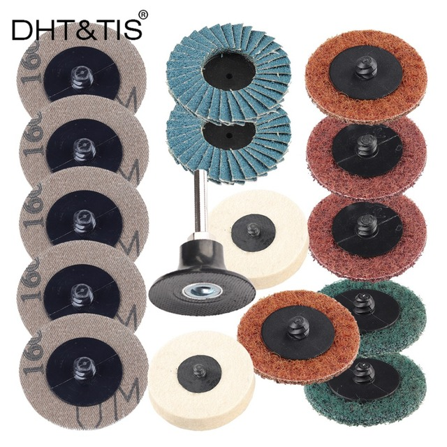 DHTTIS 20pcs 2 Roloc Grinding Disc Flap Wheel Wool Pad 1 Holder For