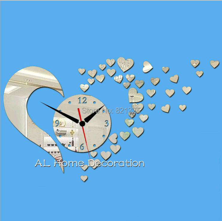 3D Diy Mirror Wall Clocks Lovely Hearts Vintage Silent Bedroom Art Decor Unique Room - AL Home Decoration Co.,LTD store