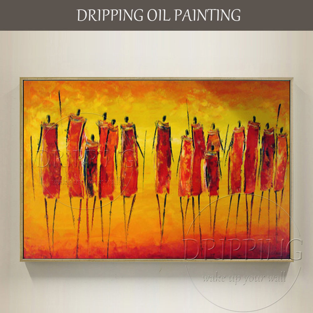 Bella Arte Della Parete dipinta A mano di Alta Qualità Astratta Pittura A Olio Africana su Tela Speciale Fine Art Africa Olio Persone pittura