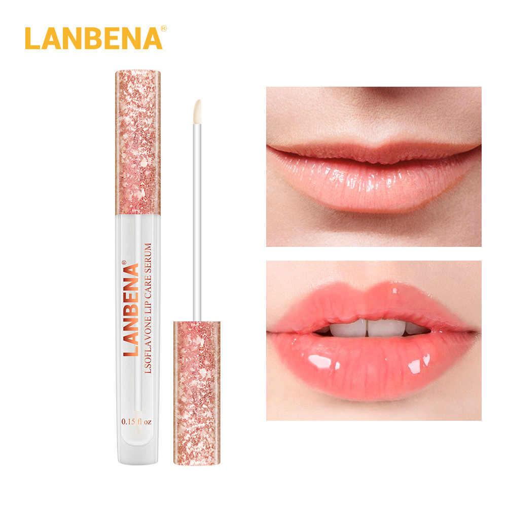 Máscara LANBENA 4.5 ml Hidratante Lábios Soro Cuidados Lip Plumper Promover Lábios Brilho Gloss Claro TSLM2