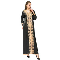 Women Linen Embroidery Beads Long Sleeve Muslim Maxi Islamic Dress Moroccan Clothing Arab Robes Kaftan Jilbab Dubai Abaya M 2XL