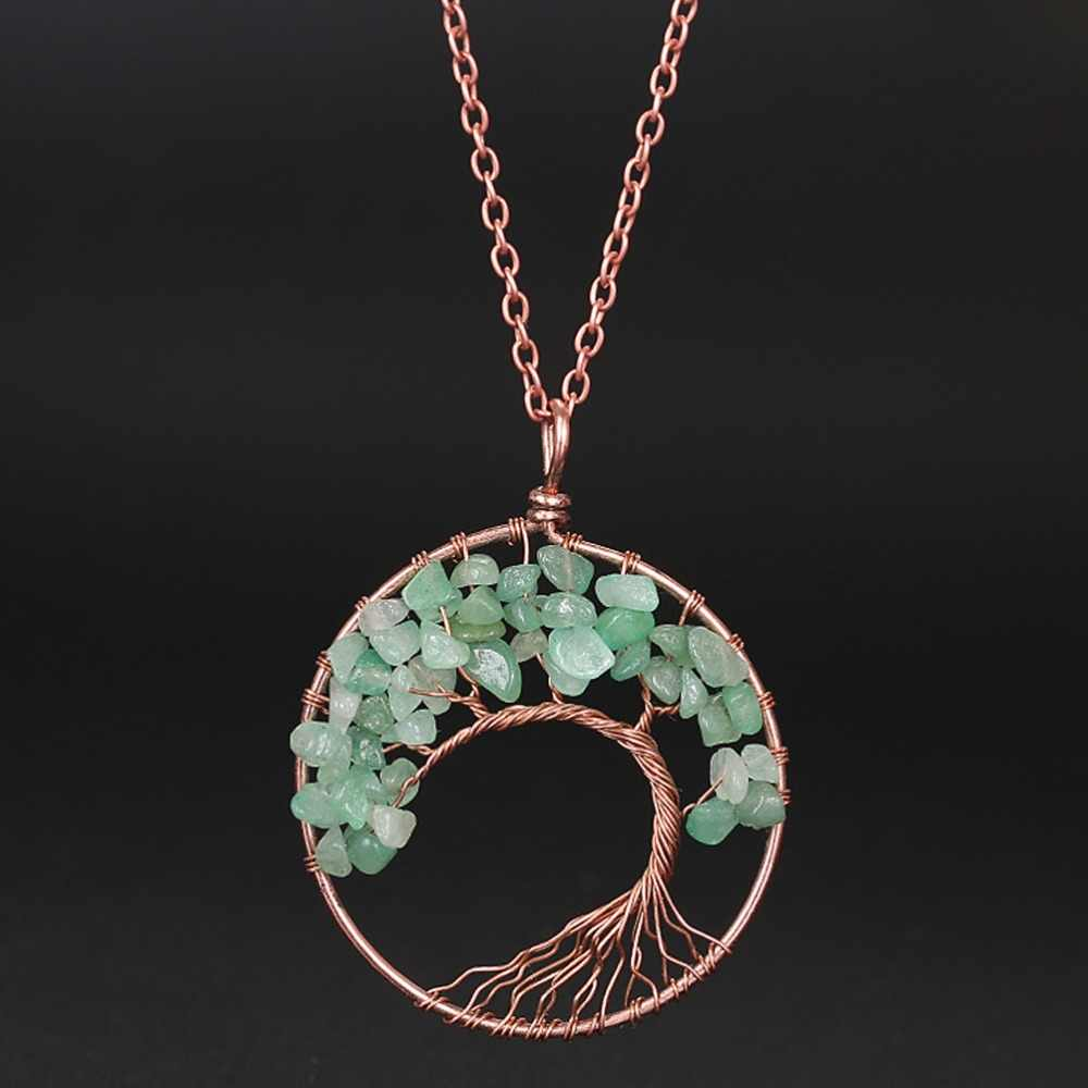M MISM Tree Of Life จี้สร้อยคอคริสตัลหินธรรมชาติสร้อยคอควอตซ์หินจี้ผู้หญิงของขวัญผู้หญิงเครื่องประดับ