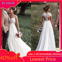 SoDigne Beach Lace Appliques Bride Dress 2018 New Cap Sleeves Slit Side Buttons White/Lvory Wedding Dresses Custom made
