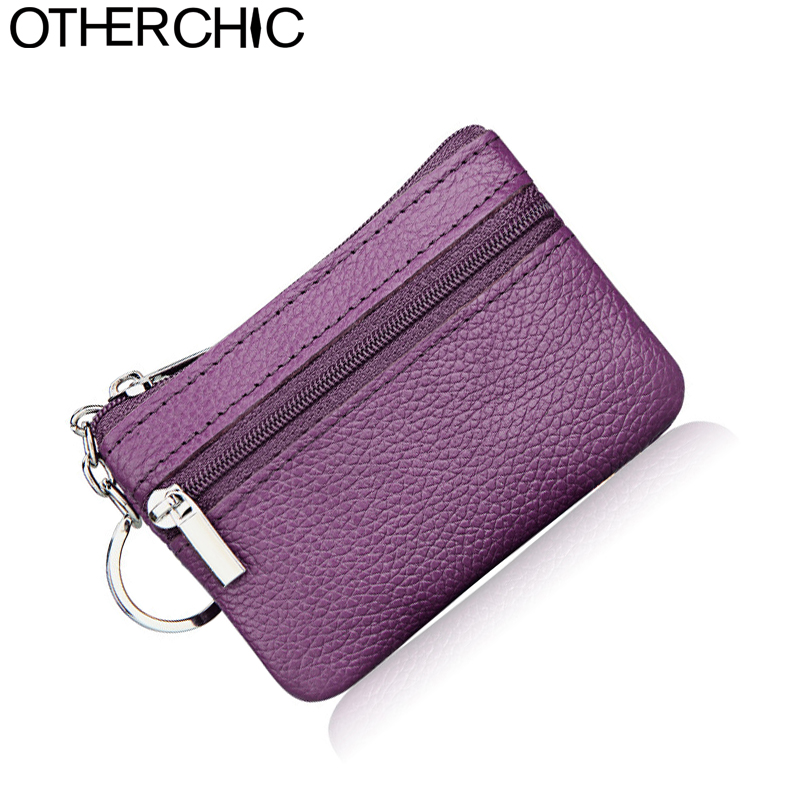 OTHERCHIC Genuine Leather Mini Change Coin Purse Women Card Holder Key Wallet Card Holders Small Change Purses Keychains 7N03-33