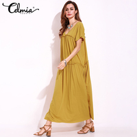 Celmia 2017 Summer Dress Women Casual Maxi Dresses Plain Robe Short Sleeve V Neck Loose Frill