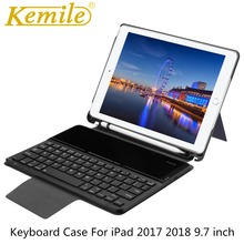 лучшая цена Case For iPad 6th 9.7 2018 Wireless Bluetooth Keyboard W Pencil Holder Auto Sleep Wake Case For iPad Air 1/2 Pro 9.7 Case Keypad