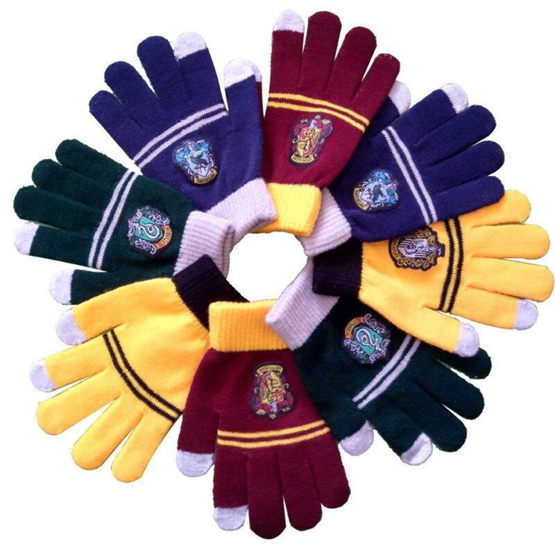 Harry Potter Cosplay College Gloves Gryffindor Glove Winter Warm Gloves Cartoon Halloween Guanti Gift Touch Screen Magic Toys аксессуары для косплея neko cosplay