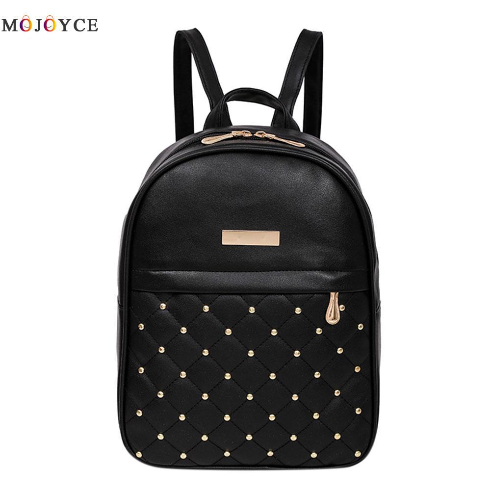 Mini Women Backpack Fashion Causal bead female shoulder mochila Girls Lattice PU Leather Backpacks Mochila Feminina