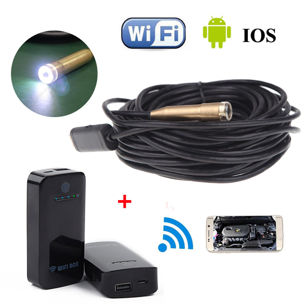 EN-100HD12mm 10M Endoscope Borescope Inspection Camera USB+WIFI BOX For IOS And Android Free shipping ddes04 wifi 5 5mm lens ear nose medical usb endoscope borescope inspection otoscope camera for ios android pc