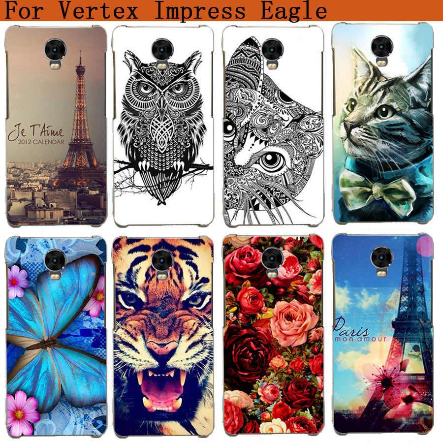 Vertex Impress Eagle Case miękka Tpu tygrys sowa róża wzór wieży eiffla malowane etui na Vertex Impress Eagle Fundas telefon Sheer